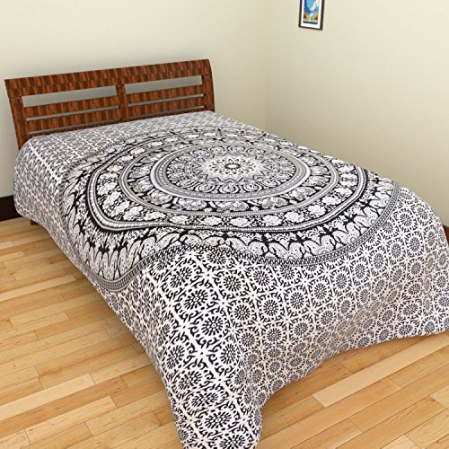 Jaipuri Rajasthani Sanganeri Single bedsheet - White & Black  available at amazon for Rs.170