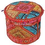 Stylo Kultur Baumwolle Patchwork gestickten Spiegel Ottoman Hocker Pouf Abdeckung Multi Farbe Ethnische Abdeckung