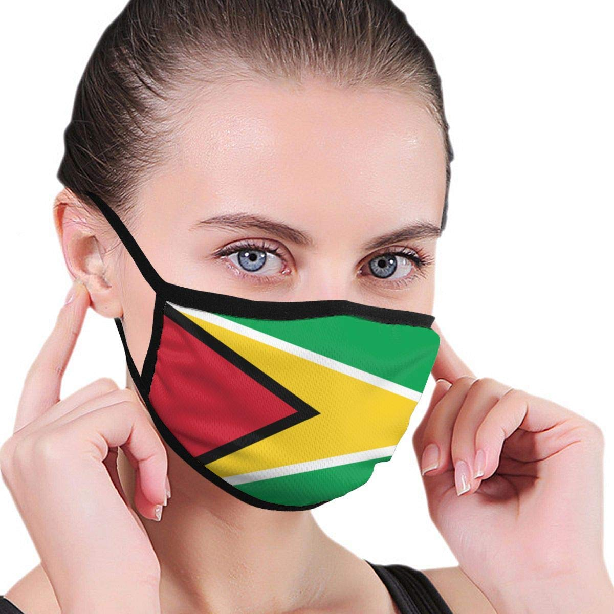 Bdwuhs Mascarillas Bucales Guyana Flag Washable Reusable Mouth Mask Cotton Anti Dust Half Face Mouth Mask For Men Women Dustproof with Adjustable Ear Loops