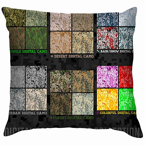 vintage cap Digital Pixel Camouflage Collection Throw Pillows Covers Accent Home Sofa Cushion Cover Pillowcase Gift Decorative 18X18 Inch Chocolate Chip Camouflage