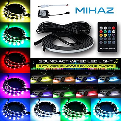 Mihaz 72 LEDs RGB LED Car Underglow Kit Underbody System Neon Lights 2*90+2*120cm w/Sound Active Function and Wireless Remote Control Flexible Under Car Lighting Kit