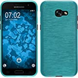 PhoneNatic Case für Samsung Galaxy A3 2017 Hülle Silikon blau brushed Cover Galaxy A3 2017 Tasche + 2 Schutzfolien