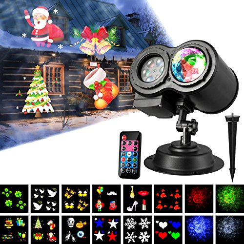 KINGWILL Weihnachten LED Projektor Lichter 12 Dias Muster Und Wellen Projektor Light 2 In 1 Outdoor/Indoor Party Lights Projektor Landschafts Beleuchtung Mit Fernbedienung F¨¹R Halloween, Partei