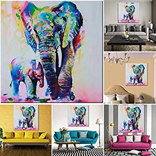 AFYKALIEE Wall Painting - All4you Wall Art Painting Picture Multicolored Elephant Canvas Print Hanging Picture HD Unframed Home Decor