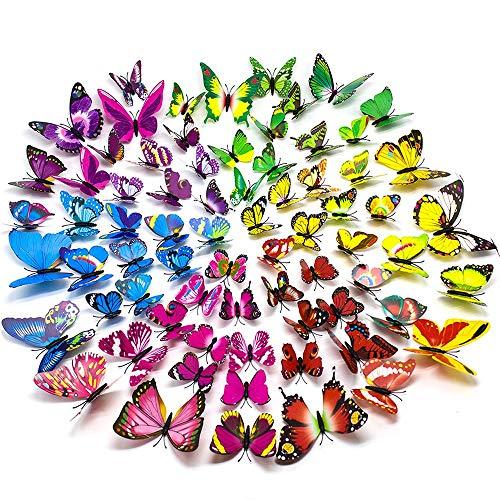 72 PCS 3D Schmetterlinge Wanddeko Aufkleber Abziehbilder, schlagfestem Kunststoff Schmetterling Dekorationen Wand-Dekor für Wohnung Raumdekoration (12Blau, 12 Lila, 12 Grün, 12 Gelb, 12 Rosa, 12 Rot) (Rosa Und Grüne-wand-dekor)