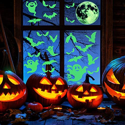 Calcomanías Luminosos de Halloween de 41 Piezas Resplandor en la Pared Oscura Juego de Pegatinas, Luna Extraña Murciélagos Fantasma Luminoso Mirando a Los Ojos Decoraciones para Halloween