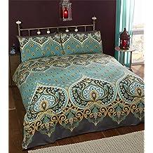 Ropa de cama estilo indio con diseño de henna, de color verde y azul,