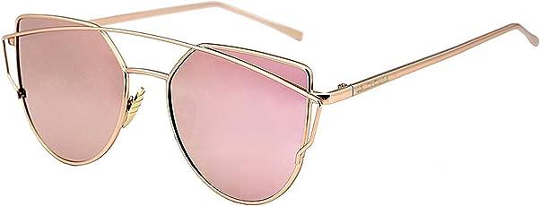 U.S. CROWN Cateye Mirror Women Men Sunglasses-(US-CROWN-018 57 Pink)