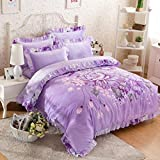 HBY estilo rico floral 4 Piezas Flocado Juego de cama completo, 1 funda nórdica, 1 cenefa, 47 funda de almohada