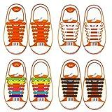 coolnice Lacets Elastiques No Tie Lacets pour Chaussures Enfants Adultes Pratique Imperméables Silicon Etanche sans Laçage pour Sports Shoes Sneaker Conseil Bottes, Enfant-multicolore+blanc+noir+orange, enfant