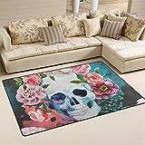 COOSUN Watercolor Totenkopf und Rose Bereich Teppich Teppich rutschfeste Fußmatte Fußmatten für Wohnzimmer Schlafzimmer 152,4x 99,1cm, Textil, multi, 60 x 39 inch