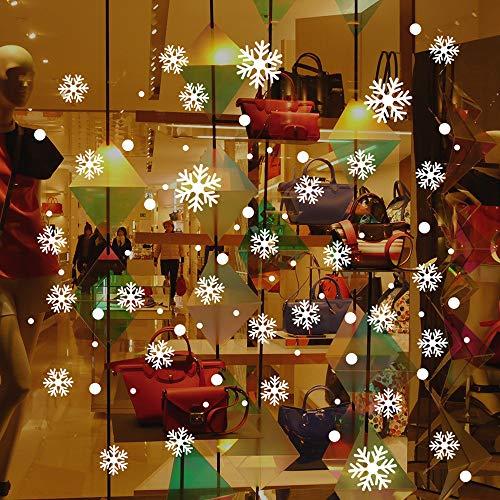 99native Weihnachten Schneeflocken Wandaufkleber Removable Fensterbilder Aufkleber,DIY Kinderzimmer Fensterdeko Aufkleber Wasserdicht Schaufenster Dekor Weihnachten Wandtattoos (Weiß) (Weiß)