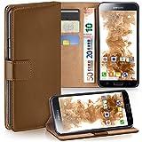 moex Samsung Galaxy S5 Mini | Hülle Braun mit Karten-Fach 360° Book Klapp-Hülle Handytasche Kunst-Leder Handyhülle für Samsung Galaxy S5 Mini Case Flip Cover Schutzhülle Tasche