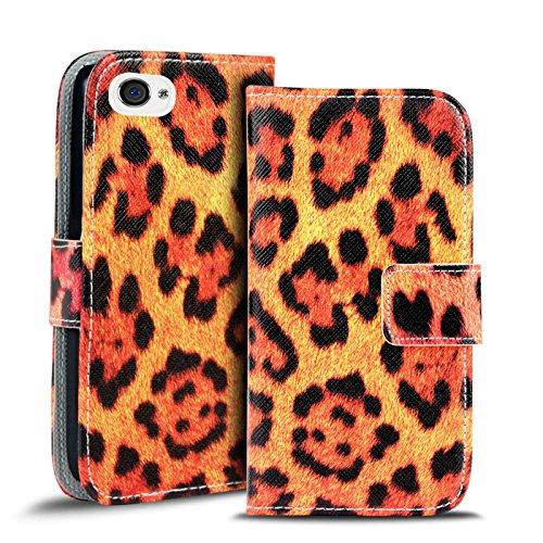 Gemusterte Hülle für Apple iPhone 4S 4 Klapphülle Tasche – Wallet Case mit verrücktem Paisley Motiv Design mit Kartenfach und Aufstellfunktion Motiv 5