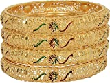 Mansiyaorange Traditional Fancy Designer Casual Party Wedding Wear Original Hand Work Meena One Gram Gold Multi Color Golden Bangles for Women (3.0)