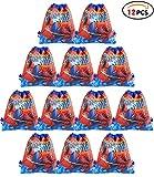 Qemsele Borse Festa per Bambini, 12 PCS Borse Sacca Zaino con Coulisse Sacchettini del per Bambini Tema Riutilizzabile Festa di Compleanno Bambini bomboniare Borsa Sacchetto Festa (Spiderman)