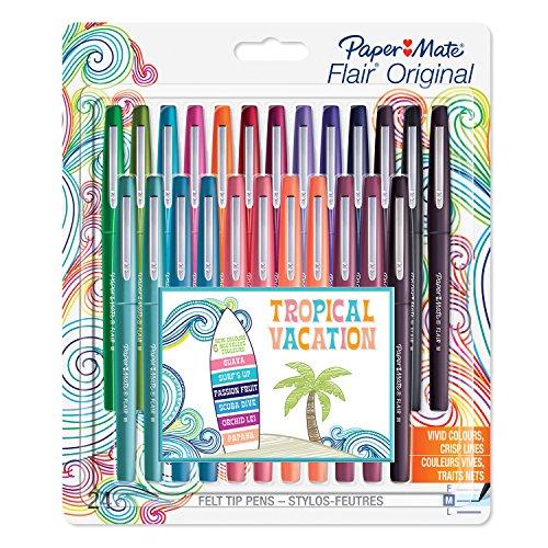 paper-mate-flair-stylos-feutre-pointe-moyenne-couleurs-tropicales-et-assorties-lot-de-24