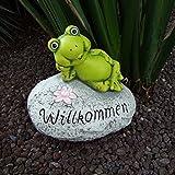 Deko-Stein Willkommen Frosch Schnecke Schildkröte Gartendeko Eingangsbereich, Variante:Frosch
