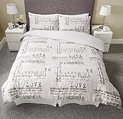 Luxury Love Dream Quotes Calligraphy Script Duvet Set Quilt Cover Bedding 3 Sizes