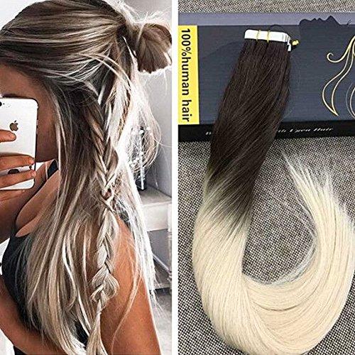 Ugeat Braun zu Blond Ombre Tape in Hair Extensions 16 Zoll 50/20pcs Glatt Brasilianisch PU Echthaar Tressen Haar Extensions