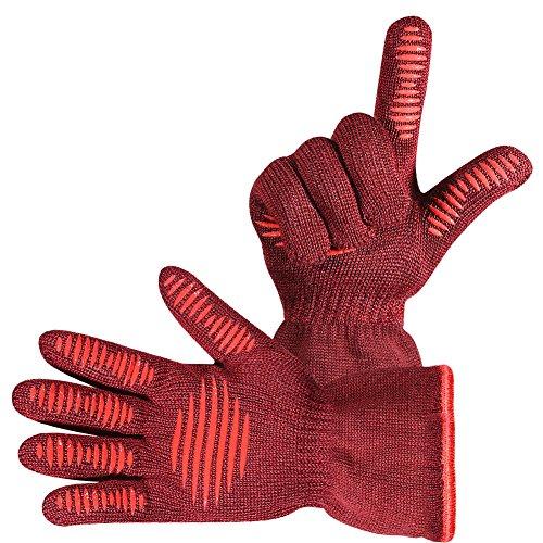 Menhoud Mhs Handschue Grillhandschuhe 2er Set Bis Zu 500 C En407 Zertifizierte Kaminhandschuhe Kochenhandschuh Ofenhandschuhe Finger Design Zum Schutz Gegen Schneiden Silikon Aramidfasern Bequem Und H