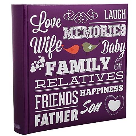 """Arpan Slip en Memo Famille violette a 200 contient 6x4 """"/ 15x10cm Album photo"""