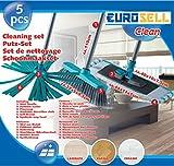 Eurosell Profi 3 in 1 Mop : Bodenwischer + Besen + Mikrofaser ! 5 teiliges Set mit Metall Stiehl ! Bodenreingung alle Böden zb Parkett Laminat PVC Kacheln etc.