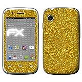 atFolix Skin kompatibel mit Wiko Ozzy, Designfolie Sticker (FX-Glitter-Gold-Rush), Reflektierende Glitzerfolie