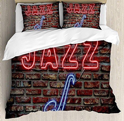 Music 3-teiliges Bettwäscheset Bettwäscheset, Abbildung eines verführerischen Neon-All-Jazz-Zeichens mit Saxophoninstrument auf Backsteinmauer-Aufdruck, 3-tlg. Tröster- / Qulitbezug-Set mit 2 Kissenbe