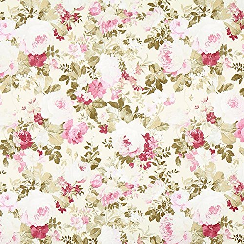 Fabulous Fabrics Dekostoff Ottoman Rosenpracht - Creme/rosa - Meterware ab 0,5m - zum Nähen von Kissen, Tischdecken und Stühle - Baumwolle Stoff Stuhl