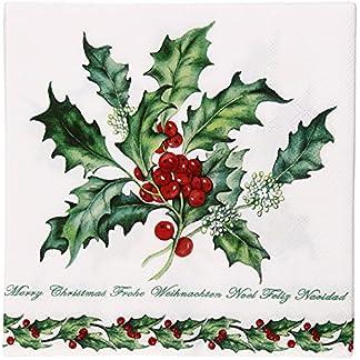 Servilletas de papel para fiesta de/ambiente de almuerzo de alrededor de 33 x 33 cm de Navidad Holly Branch – Colour blanco
