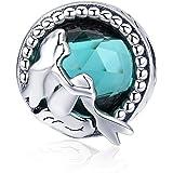 Abalorio de plata de ley 925 con circonita cúbica verde, compatible con pulsera o collar Pandora