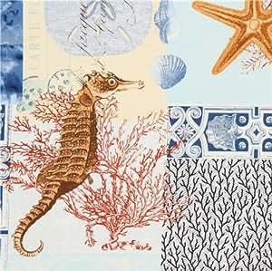 Tissu Timeless Treasures bleu, plage, coquillage, hippocampe