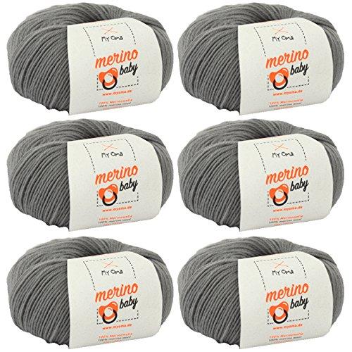 MyOma Babywolle zum Häkeln - Merino Baby grau (Fb 6050) - 6 Knäuel Merinowolle Baby grau + GRATIS Label - 25g/140m - Nadelstärke 2,5-3mm - Babygarn 100% Merino - Baby Babywolle zum Häkeln weich