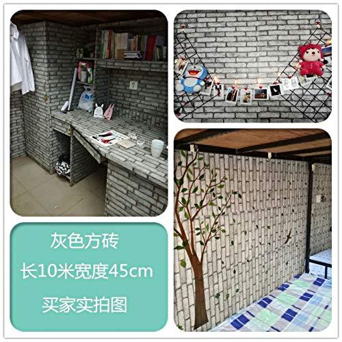 Carta da parati autoadesiva carta da parati adesivi murali camera da letto impermeabili grigi mattone quadrato grigio