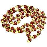 Gold Pated Rudraksh Mala 54 Beads 8 mm
