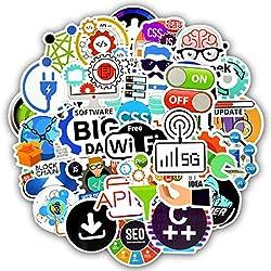 SetProducts Top Stickers ! Lot de 50 Stickers Programmation Informatique - Autocollant Top Qualité Non Vulgaires - Internet, Geek, PC - Customisation Portable, Bagages, Moto, vélo, Skateboard