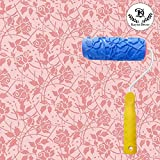 #7: Kayra Decor 5 inch Soft Rubber Pattern Roller with Handle DIY for Wall Decor (Red/Blue)