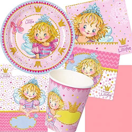 Prinzessin Lillifee 105-tlg. Party Set Kindergeburtstag: Teller, Becher, Servietten, Einladungen, Deko | Kinder Mädchen Pink Rosa Geburtstag