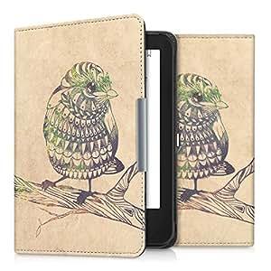 kwmobile Cover per Tolino Shine 2 HD - Custodia a libro per eReader - Copertina protettiva libro flip case Protezione per e-book reader Design Uccello Azteco nero verde beige