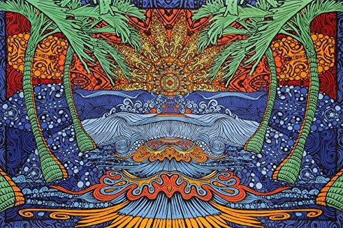 Riesen 3D Wandtuch 152,4 x 228,6 cm - Epic Wave Surf Motiv Strand mit Palmen - Trippy Mandala Tapestry -