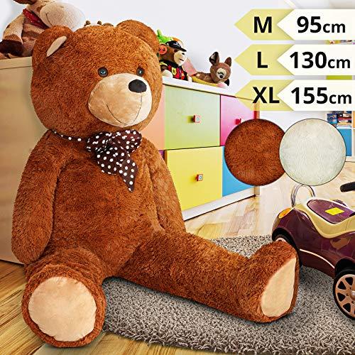 Infantastic Teddybär | in 3 Größen: XL (155 cm), L (130 cm), M (95 cm) und 2 Farben (Weiß, Braun) | Großer Teddy, Plüschbär, Kuschelbär, Kuscheltier, Stofftier