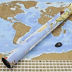 Perfect Travel Map - Mapamundi para rascar - Ideal como regalo para viajeros, trotamundos, turistas y estudiantes de idiomas - Póster de 83,6 x 60,5 cm