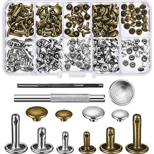 120 Set Leder Nieten Doppelkappe Rivet Buttons mit Einstellung Tool Kit und Aufbewahrungsbox für DIY Lederhandwerk, 3 Größen (Silber und Bronze) -