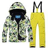 emansmoer Kinder Skianzug Wasserdicht Winddicht Outdoor Wintersport Ski Snowboard Jacke Schnee Hosen Salopettes (122/128, (Grün + Gelb)/8013)
