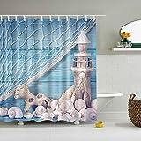 Minuya Meer Seestern Leuchtturm Farbig Duschvorhänge Verdicken Anti-Schimmel Textilien für Badezimmer Familie Haus Wohnung Duschvorhang