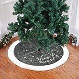 Royaliya Weihnachtsbaum Rock Schnee Grün Baumdecke mit Bestickten weißen Gesteppten Trim Kunstpelz Plüsch Weihnachtsbaumdecke Klassische Dekoration 95CM