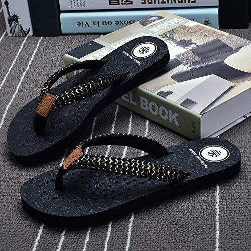 Estate Sandali Pantofole di moda estate Pattini sabbia scivolosa femminile Pantofole fredde piatte donna Nero Marrone Bianco Colore / formato facoltativo Nero