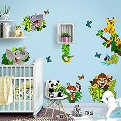 Idea Regalo - kina R00434 Adesivo murale per Bambini Wall Art - Giungla nascondino - Misure Foglio 30x120 cm - Decorazione Parete, Adesivi per Muro, Carta da Parati