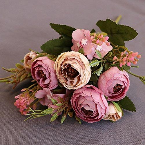 Lulalula Faux Rose, fleurs, 1 Bouquet de 8 Tête à thé Bouquet de fleurs artificielles en soie Rose vintage pour maison de cuisine Couronne de mariage Décoration de table, violet, 26 cm